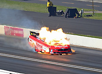 Sep 3, 2018; Clermont, IN, USA; NHRA funny car driver Bob Tasca III explodes an engine on fire during the US Nationals at Lucas Oil Raceway. Tasca was uninjured in the explosion. Mandatory Credit: Mark J. Rebilas-USA TODAY Sports