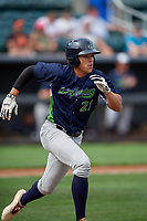 Vermont Lake Monsters Dustin Harris (21) runs to first base during a NY-Penn League game against the Aberdeen IronBirds on August 18, 2019 at Leidos Field at Ripken Stadium in Aberdeen, Maryland.  Vermont defeated Aberdeen 6-5.  (Mike Janes/Four Seam Images)