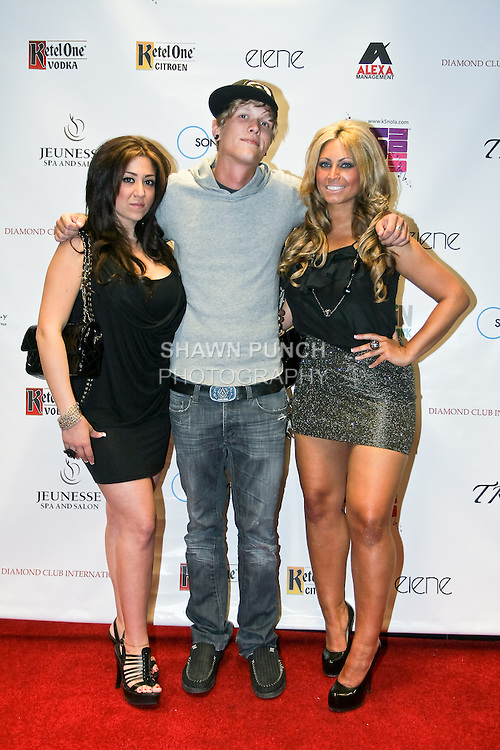 Gigi Lisco, Joey Rozmus, and Tracy DiMarco pose at Pre-NFL draft celebrity ping pong charity tournament, at Spin New York, April 19, 2010.