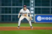 Mississippi State Bulldogs third baseman Justin Foscue (17) on defense against the Houston Cougars in game six of the 2018 Shriners Hospitals for Children College Classic at Minute Maid Park on March 3, 2018 in Houston, Texas. The Bulldogs defeated the Cougars 3-2 in 12 innings. (Brian Westerholt/Four Seam Images)