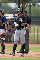 Chicago White Sox second baseman Amado Nunez (60) at bat during an Instructional League game against the Los Angeles Dodgers on September 30, 2017 at Camelback Ranch in Glendale, Arizona. (Zachary Lucy/Four Seam Images)