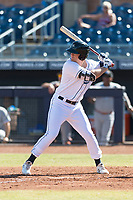 Peoria Javelinas left fielder Joe McCarthy (21), of the Tampa Bay Rays organization, at bat during an Arizona Fall League game against the Glendale Desert Dogs at Peoria Sports Complex on October 22, 2018 in Peoria, Arizona. Glendale defeated Peoria 6-2. (Zachary Lucy/Four Seam Images)