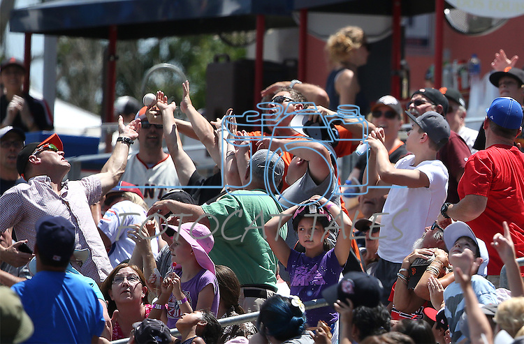 Fans scramble for a foul ball during a game at Greater Nevada Field in Reno, Nev., on Tuesday, June 7, 2016. <br />Photo by Cathleen Allison