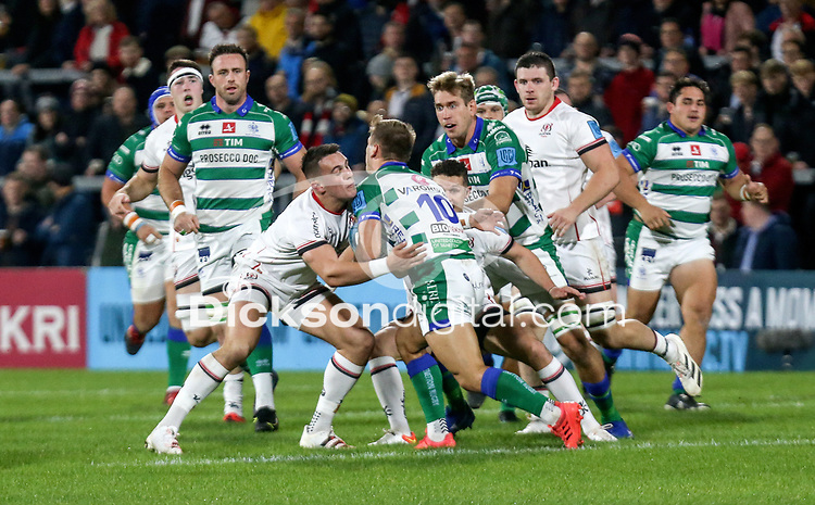 Friday 8th October 2021<br /> <br /> James Hume tackles Leonardo Marin during the URC Round 3 clash between Ulster Rugby and Benetton Rugby at Kingspan Stadium, Ravenhill Park, Belfast, Northern Ireland. Photo by John Dickson/Dicksondigital