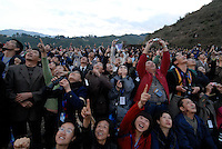 """Shang Peka, 76, of Quianjin village one mile from China's """"Space Launch Centre"""" in Sichuan Province, China. The Chinese made Long March Rocket called Chang'e 1, was launched 24th October 2007, Sichuan Province, China."""