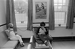 HM Prison Styal Wilmslow Cheshire England 1986 Two older women prisoners relaxing having a smoke in the afternoon after work has been completed.