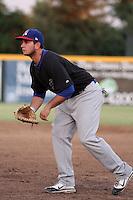 Stockton Ports first baseman Anthony Aliotti #18 in the field against the Visalia Rawhide at Recreation Park on July 30, 2011 in Visalia,California. Visalia defeated Stockton 11-2.(Larry Goren/Four Seam Images)