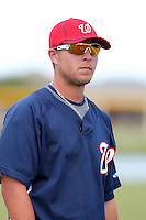 Washington Nationals third baseman Matt Skole #10 during an Instructional League game against the national team from Italy at Carl Barger Training Complex on September 28, 2011 in Viera, Florida.  (Mike Janes/Four Seam Images)