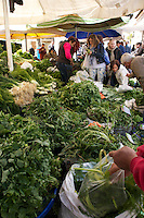 Herbs and greens for sale in Alacati's weekly market, Turkey