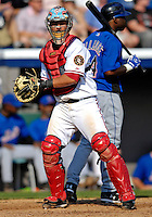 10 March 2007: Washington Nationals catcher Jesus Flores in action against the New York Mets at Space Coast Stadium in Viera, Florida. <br /> <br /> Mandatory Photo Credit: Ed Wolfstein Photo