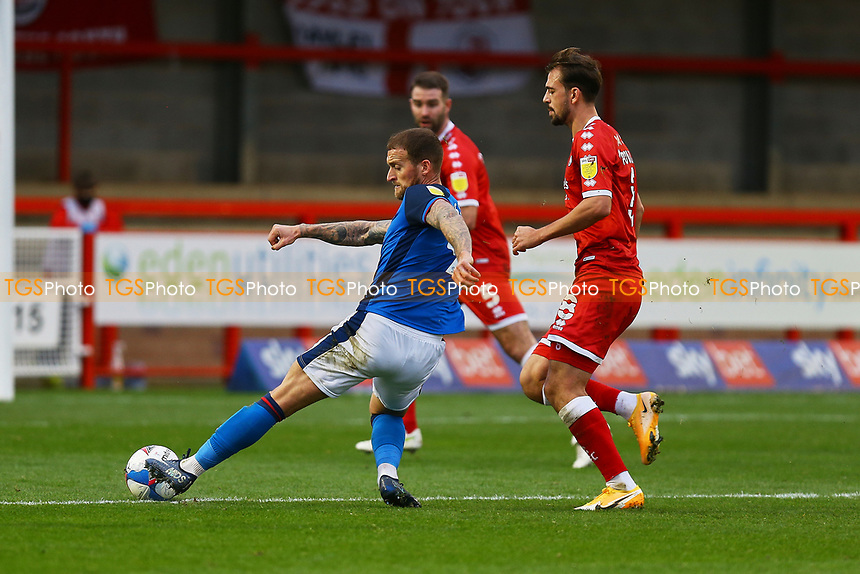 Lewis Alessandra of Carlisle United has a shot on goal during Crawley Town vs Carlisle United, Sky Bet EFL League 2 Football at Broadfield Stadium on 21st November 2020