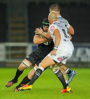 8th October 2021;  Swansea.com Stadium, Swansea, Wales; United Rugby Championship, Ospreys versus Sharks; Morgan Morris of Ospreys is tackled by Kerron van Vuuren of Cell C Sharks