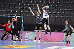 Dener Jaanimaa (EST) wirft ueber den Block von Finn Lemke (GER) bei der Euro-Qualifikation im Handball, Deutschland - Estland.<br /> <br /> Foto © PIX-Sportfotos *** Foto ist honorarpflichtig! *** Auf Anfrage in hoeherer Qualitaet/Aufloesung. Belegexemplar erbeten. Veroeffentlichung ausschliesslich fuer journalistisch-publizistische Zwecke. For editorial use only.