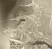 historical aerial photograph Oakland, California, 1968
