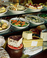 A detail of some of the delicious chichetti and cheeses on offer at the Osteria Bancogiro in the Rialto district of Venice.