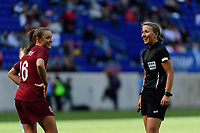 HARRISON, NJ - MARCH 08: Georgia Stanway #16 of England talks with referee Katja Koroleva during a game between England and Japan at Red Bull Arena on March 08, 2020 in Harrison, New Jersey.