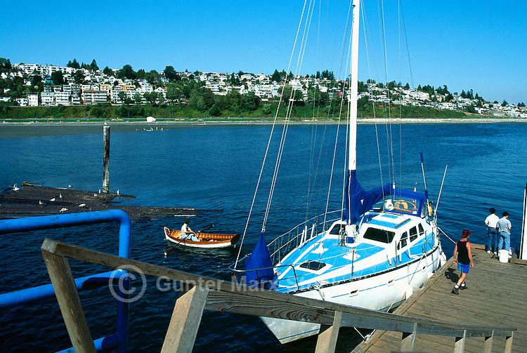 White Rock, BC, British Columbia, Canada - Sailboat docked at White Rock Pier in Semiahmoo Bay
