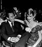 ALBERTO SORDI CON LA MODELLA  ADE' <br /> FESTA DEL CINEMA ALL' HILTON HOTEL ROMA 1973