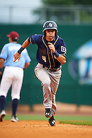San Antonio Missions shortstop Trea Turner (4) running the bases during a game against the NW Arkansas Naturals on May 30, 2015 at Arvest Ballpark in Springdale, Arkansas.  San Antonio defeated NW Arkansas 5-2.  (Mike Janes/Four Seam Images)