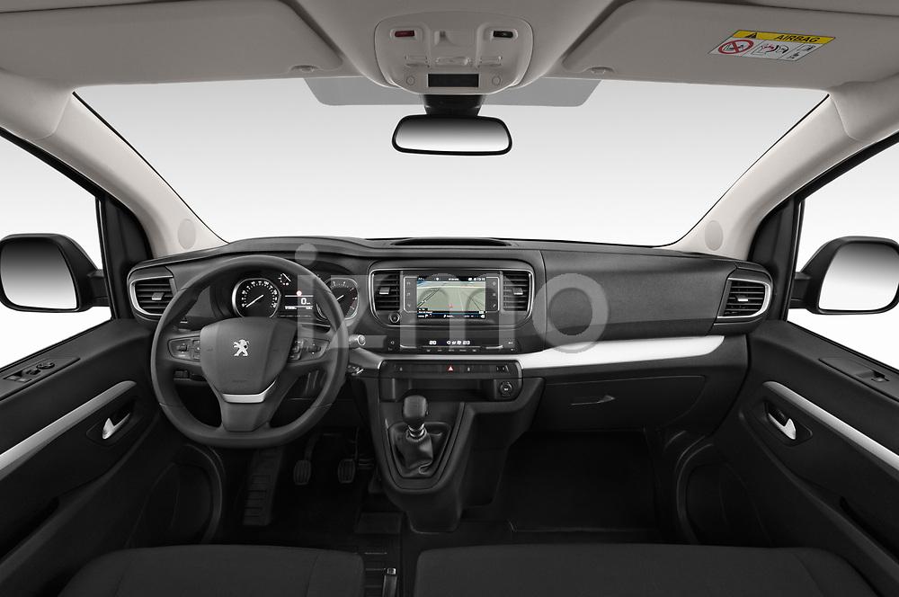 Stock photo of straight dashboard view of a 2018 Peugeot Traveller Business 4 Door Mini Van