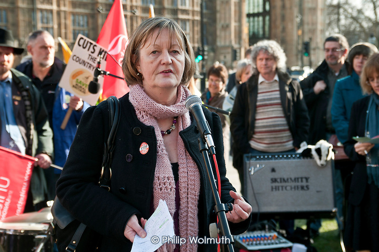 Sue Bond, PCS Vice-President, addresses a joint union lobby of Parliament over the Public Bodies Bill, Westminster, London.