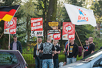 Am Montag den 7. April in Berlin-Adlershof eine Informationsveranstaltung zu einer geplanten Fluechtlingsunterkunft im Stadtteil statt.<br /> Vor dem Versammlungsort protestierten etwa 20 Neonazis der NPD aus Berlin und Brandenburg, Neonazis aus Tschechien, Hooligans des BFC-Dynamo und ca. 5 Personen die sich als Anwohner bezeichneten gegen Auslaender und Fluechtlinge.<br /> Einige hundert Meter enfernt und abgeschirmt von der Polizei, protestierten 30-40 Menschen gegen die Kundgebung der Neonazis.<br /> 7.4.2014, Berlin<br /> Copyright: Christian-Ditsch.de<br /> [Inhaltsveraendernde Manipulation des Fotos nur nach ausdruecklicher Genehmigung des Fotografen. Vereinbarungen ueber Abtretung von Persoenlichkeitsrechten/Model Release der abgebildeten Person/Personen liegen nicht vor. NO MODEL RELEASE! Nur fuer Redaktionelle Zwecke. Don't publish without copyright Christian-Ditsch.de, Veroeffentlichung nur mit Fotografennennung, sowie gegen Honorar, MwSt. und Beleg. Konto: I N G - D i B a, IBAN DE58500105175400192269, BIC INGDDEFFXXX, Kontakt: post@christian-ditsch.de<br /> Bei der Bearbeitung der Dateiinformationen darf die Urheberkennzeichnung in den EXIF- und  IPTC-Daten nicht entfernt werden, diese sind in digitalen Medien nach §95c UrhG rechtlich geschuetzt. Der Urhebervermerk wird gemaess §13 UrhG verlangt.]