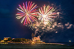 4th of July fireworks light up the night sky over Shell Point Beach in the north Florida panhandle.