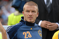 Los Angeles Galaxy midfielder David Beckham (23) on the bench before the game. DC United defeated the Los Angeles Galaxy 1-0 at RFK Stadium in Washington DC, Thursday August 9, 2007.