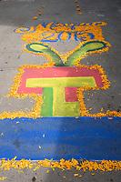 Mexico, Mixquic. Day of the Dead, Dia de los Muertos. Chalk decoration on sidewalk.