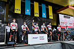 UAE Team Emirates at the Team Presentation before the start of Stage 1 of Criterium du Dauphine 2020, running 218.5km from Clermont-Ferrand to Saint-Christo-en-Jarez, France. 12th August 2020.<br /> Picture: ASO/Alex Broadway | Cyclefile<br /> All photos usage must carry mandatory copyright credit (© Cyclefile | ASO/Alex Broadway)