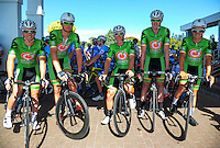 The Oliver's Real Food Racing team before stage three of the NZ Cycle Classic UCI Oceania Tour in Wairarapa, New Zealand on Tuesday, 24 January 2017. Photo: Dave Lintott / lintottphoto.co.nz