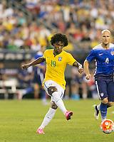 Foxborough, Massachusetts - September 8, 2015: In an international friendly match, Brazil (yellow/white) defeated USMNT (blue) , 4-1, at Gillette Stadium.