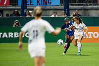 TACOMA, WA - JULY 31: Tziarra King #23 of the OL Reign and Julia Ashley #16 of Racing Louisville FC battle for the ball during a game between Racing Louisville FC and OL Reign at Cheney Stadium on July 31, 2021 in Tacoma, Washington.