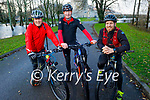 David Butler, Tim Houlihan and Brendan O'Keeffe on their bikes in the National Park, Killarney on Saturday.