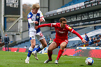 Nottingham Forest's Luke Freeman battles with Blackburn Rovers' Luke Brennan<br /> <br /> Photographer Alex Dodd/CameraSport<br /> <br /> The EFL Sky Bet Championship - Blackburn Rovers v Nottingham Forest - Saturday 17th October 2020 - Ewood Park - Blackburn<br /> <br /> World Copyright © 2020 CameraSport. All rights reserved. 43 Linden Ave. Countesthorpe. Leicester. England. LE8 5PG - Tel: +44 (0) 116 277 4147 - admin@camerasport.com - www.camerasport.com