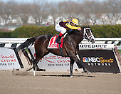 Javier Castellano pumps the reins aboard Broadway's Alibi in the Comely Stakes.