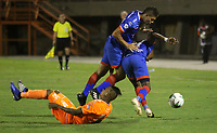 ENVIGADO- COLOMBIA, 19-07-2019.Arley Rodriguez  (Izq.) jugador del Envigado disputa el balón con Nicolas Roa (Der.) jugador del Deportivo Pasto durante partido por la fecha 2 de la Liga Águila II 2019 jugado en el estadio Polideportivo Sur de la ciudad de Medellín. /Arley Rodriguez (L) player of Envigado figths the ball agaisnt of Nicolas Roa (R) player of Deportvo Pasto during the match for the date 2 of the Liga Aguila II 2019 played at Polideportivo Sur stadium in Medellin  city. Photo: VizzorImage / Envigado FC