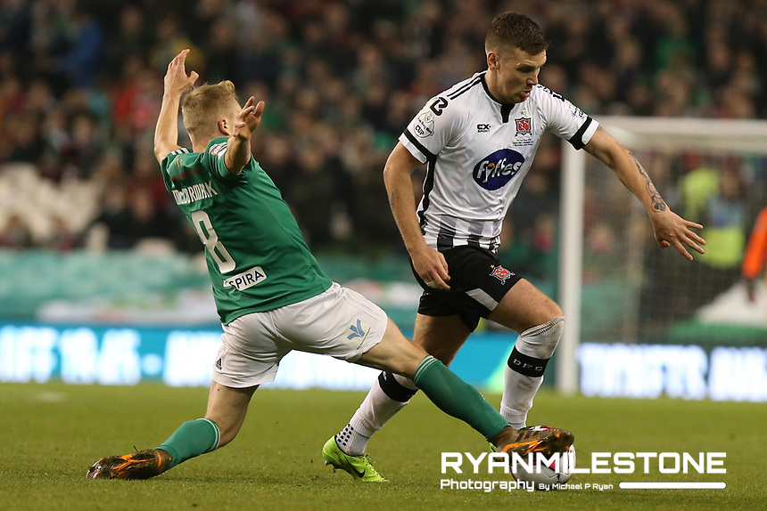 Patrick McEleney of Dundalk in action against Conor McCormack  of Cork City during the Irish Daily Mail FAI Cup Final between Dundalk and Cork City, on Sunday 4th November 2018, at the Aviva Stadium, Dublin. Mandatory Credit: Michael P Ryan.