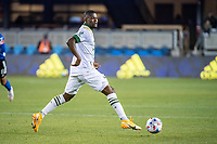 SAN JOSE, CA - MAY 15: Dairon Asprilla #27 of the Portland Timbers dribbles the ball during a game between San Jose Earthquakes and Portland Timbers at PayPal Park on May 15, 2021 in San Jose, California.