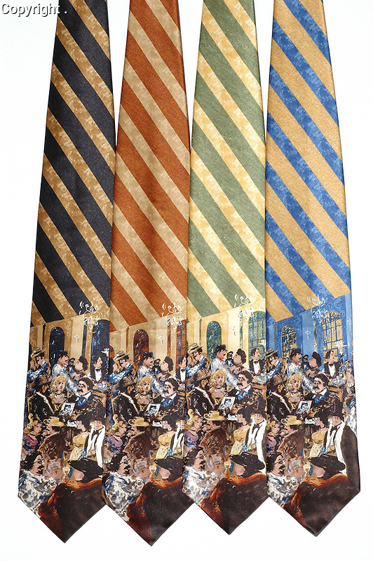 """Guy Buffet 100% Silk Tie<br /> """"Moulin Rouge""""<br /> $75 includes shipping in Continental US<br /> Specify Color; Black, Brown, Green or Blue<br /> Limited quantities."""