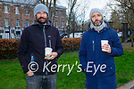 Enjoying a stroll and a coffee in the Tralee town park on Saturday, l to r: Richard McCarthy and Philip Doyle.