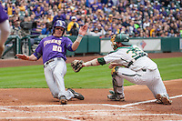 LSU Tigers third baseman Conner Hale (20) slides home as Baylor catcher Cameron Miller (32) attempts to tag him during the NCAA baseball game on March 7, 2015 in the Houston College Classic at Minute Maid Park in Houston, Texas. Hale was called out. LSU defeated Baylor 2-0. (Andrew Woolley/Four Seam Images)