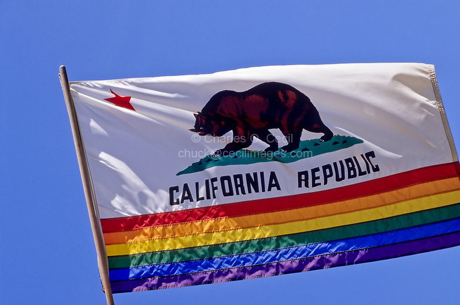 California State Flag with Gay and Lesbian Rainbow Colors added at bottom.  Castro District, San Francisco, California.