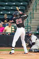 Lewis Brinson (25) of the Hickory Crawdads at bat against the Charleston RiverDogs at L.P. Frans Stadium on June 2, 2014 in Hickory, North Carolina.  The Crawdads defeated the RiverDogs 9-6.  (Brian Westerholt/Four Seam Images)
