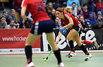 GER - Luebeck, Germany, February 06: During the 1. Bundesliga Damen indoor hockey semi final match at the Final 4 between Berliner HC (blue) and Duesseldorfer HC (red) on February 6, 2016 at Hansehalle Luebeck in Luebeck, Germany. Final score 1-3 (HT 0-1). (Photo by Dirk Markgraf / www.265-images.com) *** Local caption *** Lisa-Marie Schuetze #19 of Duesseldorfer HC