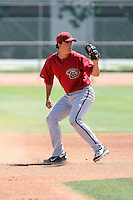 Niko Gallego #1 of the Arizona Diamondbacks plays in an extended spring training game against the Chicago Cubs at the Cubs minor league complex on April 22, 2011  in Mesa, Arizona. .Photo by:  Bill Mitchell/Four Seam Images.