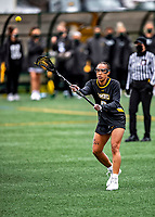 17 April 2021: UMBC Retriever Attacker Dymin Gerow, a Freshman from Baltimore, MD, in action against the University of Vermont Catamounts at Virtue Field in Burlington, Vermont. The Catamounts fell to the Retrievers 11-8 in the America East Women's Lacrosse matchup. Mandatory Credit: Ed Wolfstein Photo *** RAW (NEF) Image File Available ***