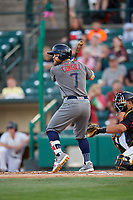 Lehigh Valley IronPigs center fielder Collin Cowgill (7) at bat during a game against the Rochester Red Wings on September 1, 2018 at Frontier Field in Rochester, New York.  Lehigh Valley defeated Rochester 2-1.  (Mike Janes/Four Seam Images)