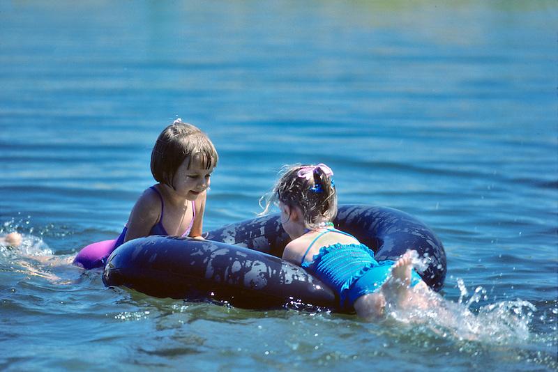 Kids on pond, Monroe, Oregon