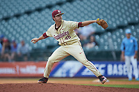 Florida State Seminoles relief pitcher Drew Carlton (46) in action against the North Carolina Tar Heels in the 2017 ACC Baseball Championship Game at Louisville Slugger Field on May 28, 2017 in Louisville, Kentucky. The Seminoles defeated the Tar Heels 7-3. (Brian Westerholt/Four Seam Images)